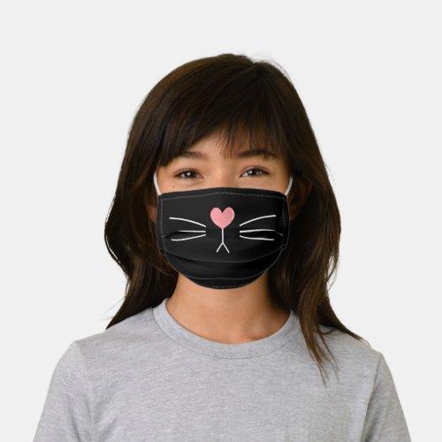 Cute Heart-Shaped Cat Nose Kids' Cloth Face Mask