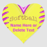 Cute Heart Shaped Personalized Softball Stickers