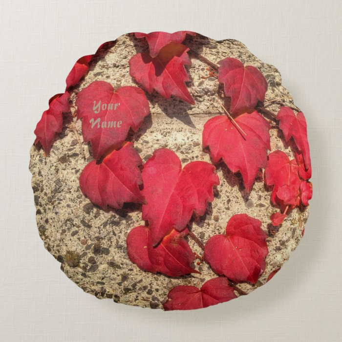 Cute Heart-Shaped Red Fall Vine Leaves Botanical Round Pillow Zazzle