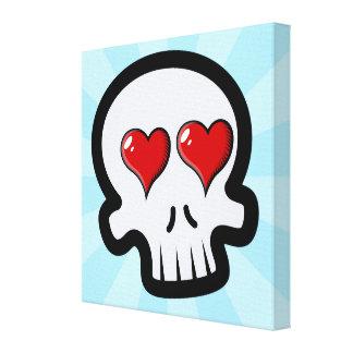 Cute Heart Skulls Cartoon Canvas Print