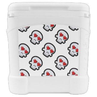 Cute Heart Skulls Cartoon Igloo Rolling Cooler