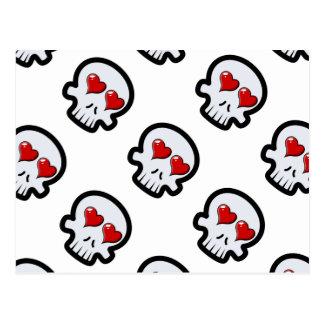 Cute Heart Skulls Cartoon Postcard
