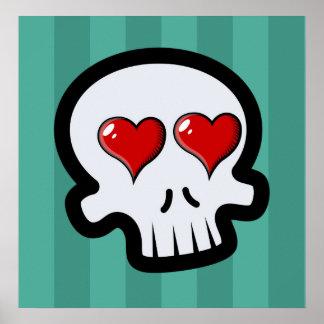 Cute Heart Skulls Cartoon Print