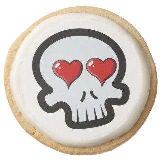 Cute Heart Skulls Cartoon Round Shortbread Cookie