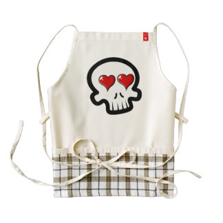 Cute Heart Skulls Cartoon Zazzle HEART Apron