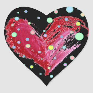 Cute Heart Stickers Black Polka Dots
