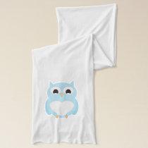Cute Heart Tummy Blue Owl Scarf