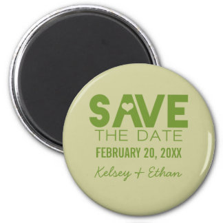 Cute Heart Typography Save the Date Magnet, Green 2 Inch Round Magnet