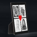 """Cute Heart with Four Photos Custom Plaque<br><div class=""""desc"""">Upload 4 of your favorite photos and showcase your life with this personalized photo collage. Photos will be automatically sized to fit/fill the square template areas, so it&#39;s perfect for instagram pictures. Friends, family, hobbies, pets, or travel destinations can all be great subjects. Four large feature images in a cube...</div>"""