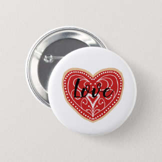 Cute Heart With Love Pinback Button