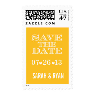 Cute Heart Yellow Save the Date Postage