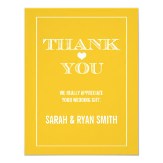 Cute Heart Yellow Wedding Thank You Cards