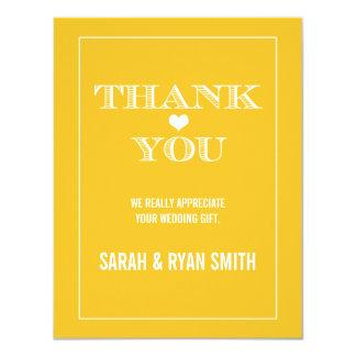 Cute Heart Yellow Wedding Thank You Cards Custom Invitations