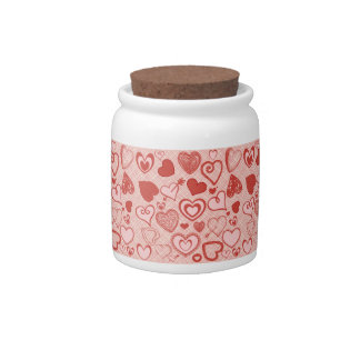Cute Hearts Doodles Love Valentine's Day Pattern Candy Jar