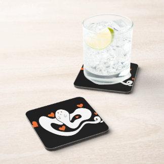 Cute Hearts Ghost Beverage Coasters