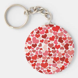 Cute Hearts Basic Round Button Keychain