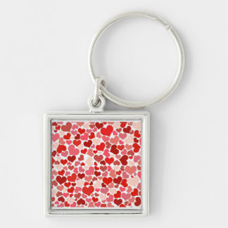 Cute Hearts Silver-Colored Square Keychain