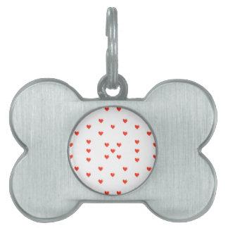 Cute Hearts Motif Pattern Pet Tag