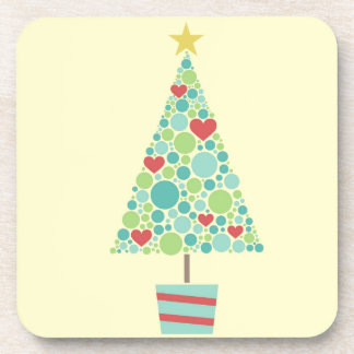 Cute hearts pastel modern Christmas tree Beverage Coaster