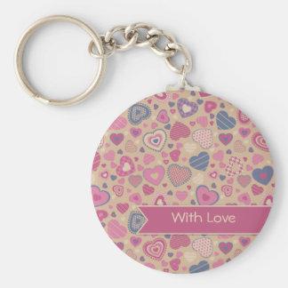 Cute Hearts pattern - Beige Rose Basic Round Button Keychain
