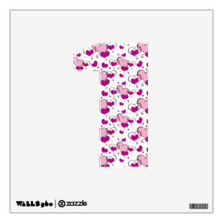 cute hearts pink number 1 wall decor