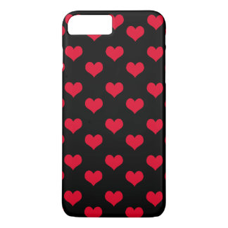 Cute Hearts Red and Black Pattern iPhone 8 Plus/7 Plus Case