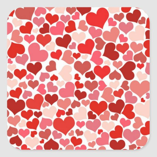 Cute Hearts Square Sticker