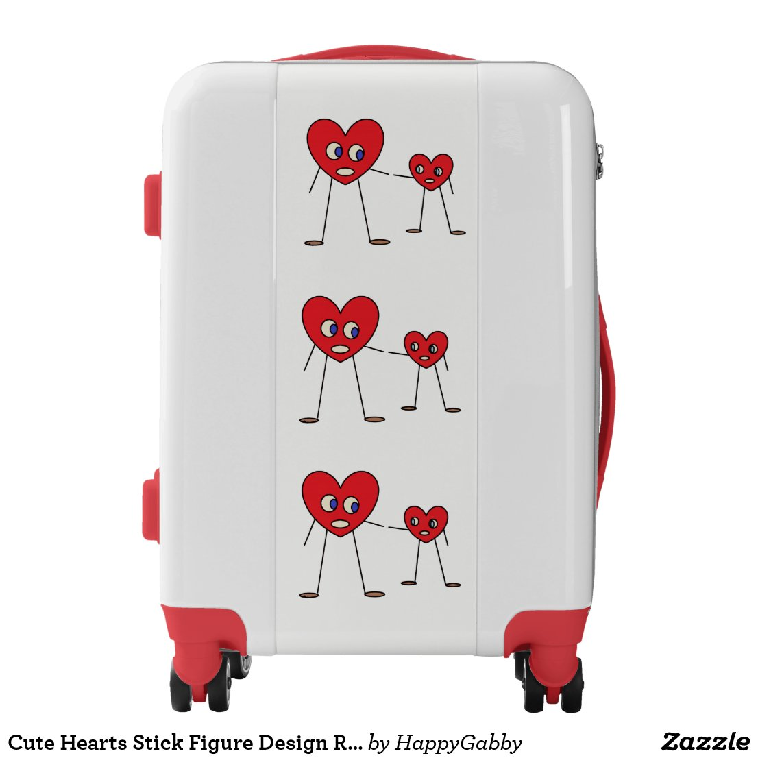 Hearts Stick Figure Design Red and White Luggage