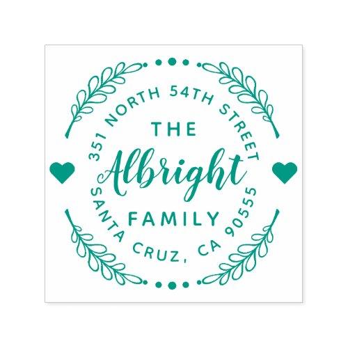 Cute Hearts  Wreath Family Name Return Address Self_inking Stamp