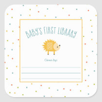 Cute Hedgehog Baby's First Library bookplate