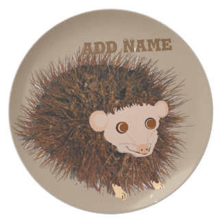 Cute hedgehog Birthday add name Melamine Plate
