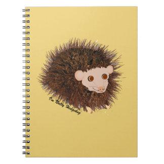 Cute hedgehog Birthday add name Spiral Note Book