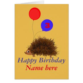 Cute hedgehog cartoon add name age card