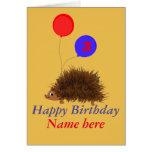 Cute hedgehog cartoon add name age cards