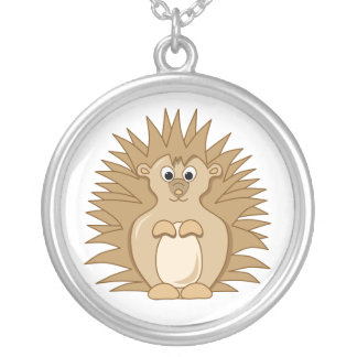 Cute Hedgehog Cartoon Animal Silver Plated Necklace