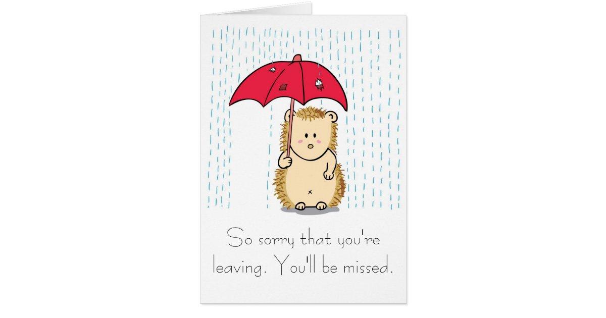 Cute hedgehog Cartoon Farewell Card | Zazzle.com
