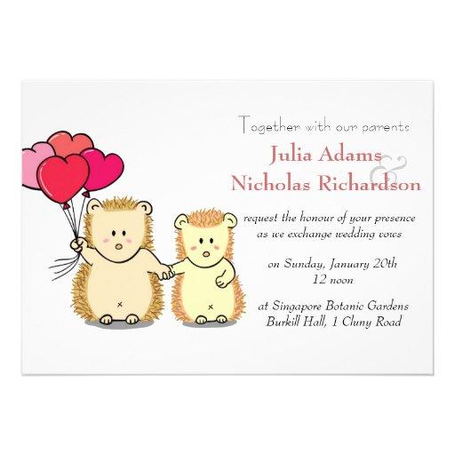 "Cute Hedgehog Cartoon Wedding Invitation 5"" X 7"