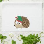 cute Hedgehog Christmas Elf Kitchen Towel