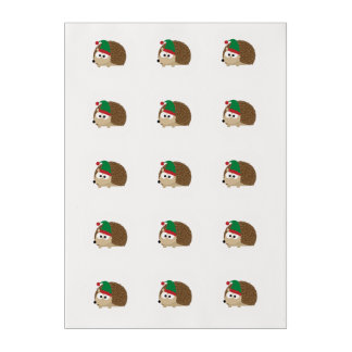 cute Hedgehog Christmas Elf Edible Frosting Rounds