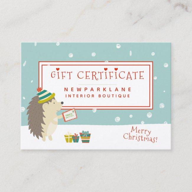 Cute Hedgehog - Christmas Gift Certificate