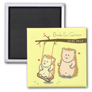 Cute Hedgehog couple at tree swing wedding favor 2 Inch Square Magnet