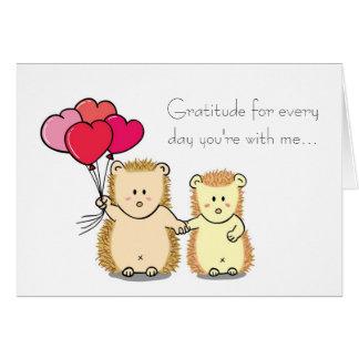 Cute Hedgehog Couple Cartoon Valentine's Day Card