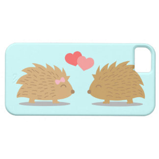 Cute Hedgehog Couple in Love iPhone 5 Cases