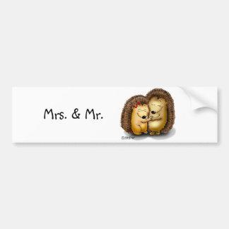 Cute Hedgehog Couple - Mr. and Mrs. Customize Bumper Sticker