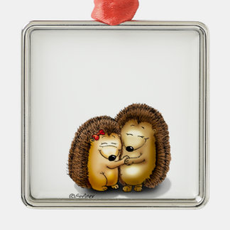 Cute Hedgehog Couple - Mr. and Mrs. Customize Metal Ornament