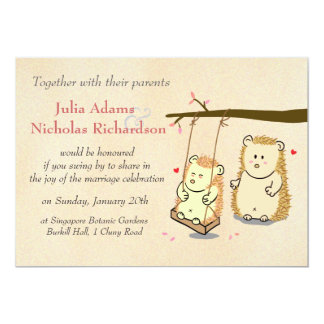 Cute Hedgehog Couple on Tree Swing Wedding Invite