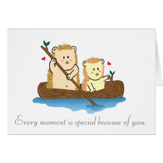 Cute Hedgehog couple sailing on wooden boat Card