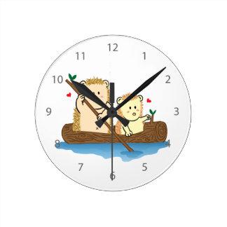 Cute Hedgehog couple sailing on wooden boat Wall Clocks