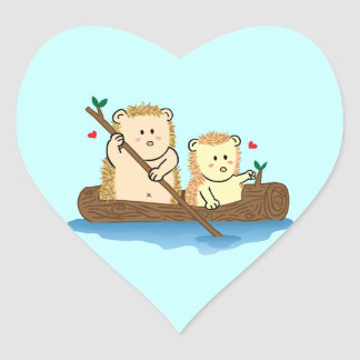 Cute Hedgehog couple sailing on wooden boat Heart Sticker