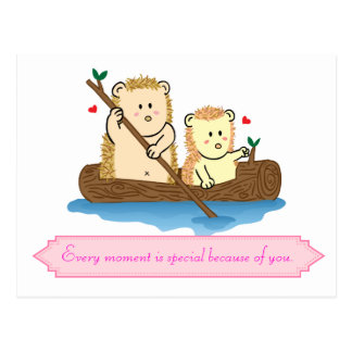 Cute Hedgehog couple sailing on wooden boat Post Cards